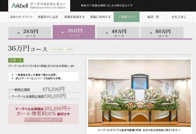 アークベル36万円コース(月々3000円x120回)