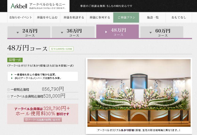 アークベル48万円コース(月々4000円x120回)